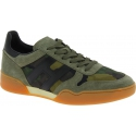 Hogan Men's fashion low top round toe lace-ups sneakers shoes in green leather