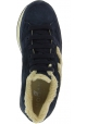 Hogan Women's lace-ups round toe wedges sneakers shoes in blue leather with faux fur