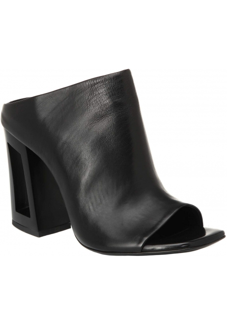 Vic Matié women's black leather high-heeled mules