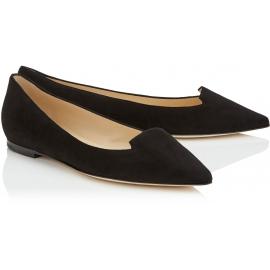 Jimmy Choo women's pointed toe ballet flats in black suede