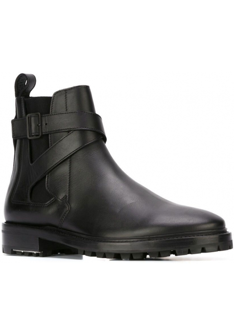 Lanvin women's flat ankle boots in black leather