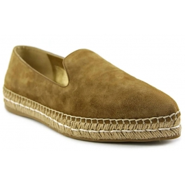 Prada women's pointed toe espadrilles in camel suede