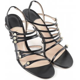 Gucci women's heeled sandals in black leather
