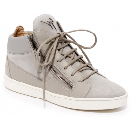 Zanotti women's high sneakers with laces in gray leather
