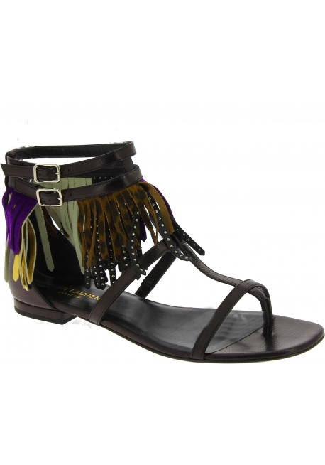 Saint Laurent flat sandals in black leather with patterns