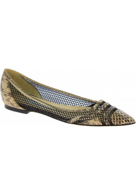 Jimmy Choo ballet flats in beige black leather and mesh