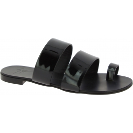 Zanotti women's flat sandals in black leather