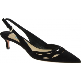 Prada kitty heel pumps in black suede