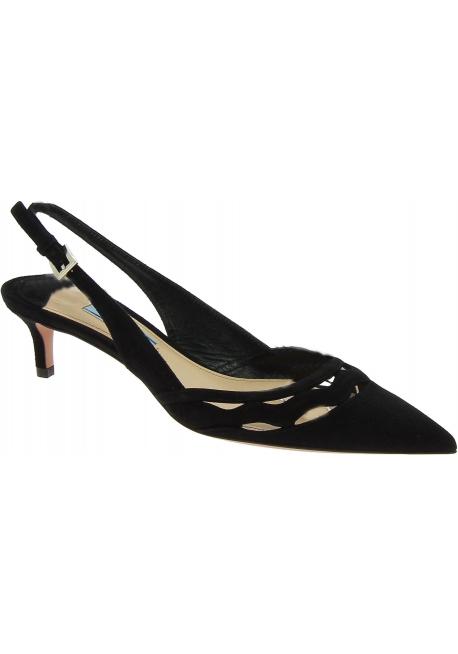 Prada kitty heel pumps in black suede