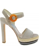 Prada high heel sandals in beige suede with rope pattern