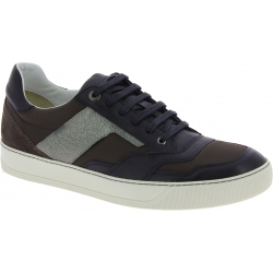 Lanvin men's lace up sneakers in black leather