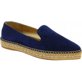 Prada women's espadrilles in blue suede and gold leather