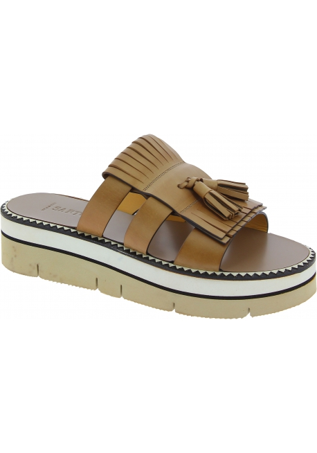Sartore wedge sandals in tan leather and tassels