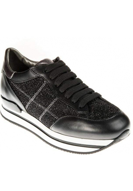 Hogan Women's fashion wedges sneakers shoes in black leather with glitter