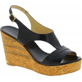 Jimmy Choo Women's fashion slingback high wedges sandals in black leather