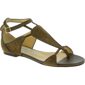 Jimmy Choo Women's flat thong sandals in light brown suede leather with buckle