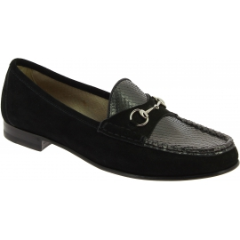 Gucci Women's fashion slip-on bit loafers shoes in black suede leather