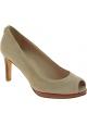 Stuart Weitzman Women's peep toe high heels pumps in beige suede leather