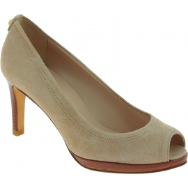 Stuart Weitzman Women's peep toe high heels pumps in beige suede leather