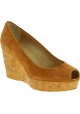 Stuart Weitzman Women's peep toe high wedges shoes in beige suede leather
