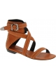 Barbara Bui Women's flat sandals in camel leather with ankle buckle closure