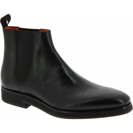 Santoni Men's fashion round toe ankle boots in black leather with elastic bands