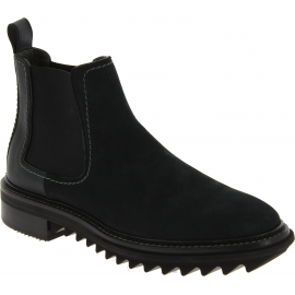 Lanvin Men's round toe fashion ankle boots in black leather with elastic bands