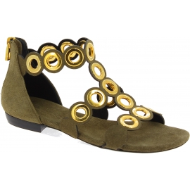 Barbara Bui Women's flat sandals in light brown suede leather with gold studs