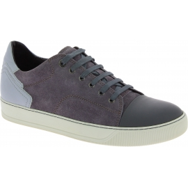 Lanvin Men's low top round toe lace-ups sneakers shoes in gray suede leather