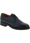 Santoni Men's formal round toe lace-ups oxford shoes in dark blue leather