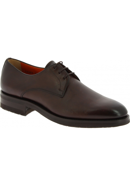 Santoni Men's formal round toe lace-ups oxfords shoes in brown leather