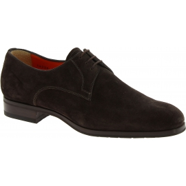 Santoni Men's formal round toe lace-ups oxfords shoes in brown suede leather