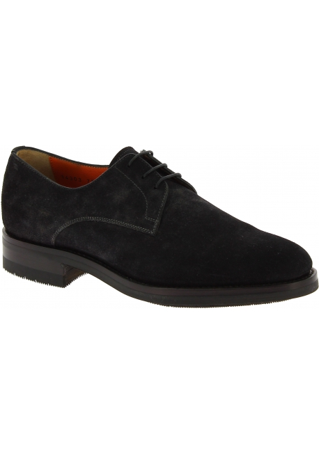 Santoni Men's formal round toe lace-ups oxfords shoes in dark gray suede leather