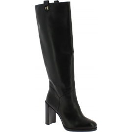 Stuart Weitzman Women's heeled knee high boots in black leather with side zip