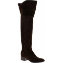 Sartore Women's overt the knee boots in brown suede leather with side zip