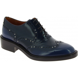 Sartore Women's lace-ups studded oxford brogues shoes in blue leather