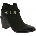 Sartore Women's pointy heeled ankle boots in black leather with side buckle