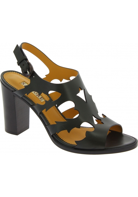 Sartore Women's slingback high heels sandals in black leather with buckle