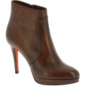 Santoni Women's stiletto heels ankle boots in brown leather with side zip