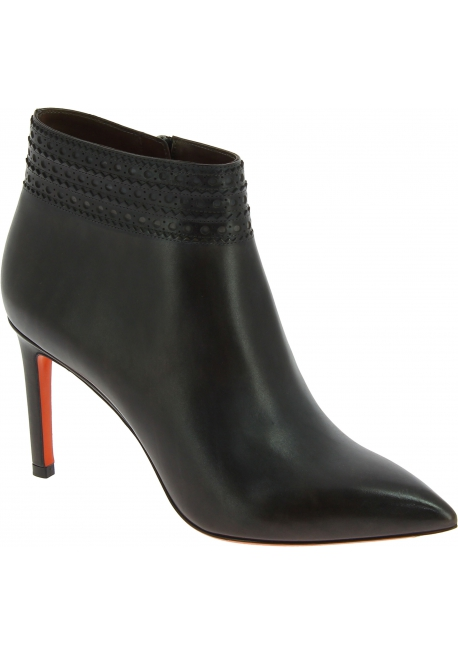 Santoni Women's pointy stiletto heels ankle boots in gray leather with side zip