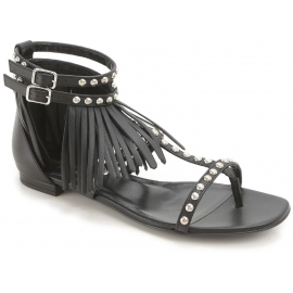 Saint Laurent Women's fashion flat studded sandals in black leather with fringes