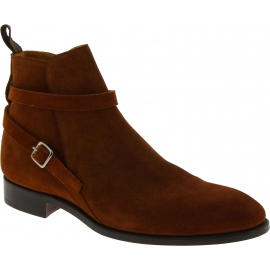 Carlos Santos Men's fashion ankle boots in camel suede leather with buckle