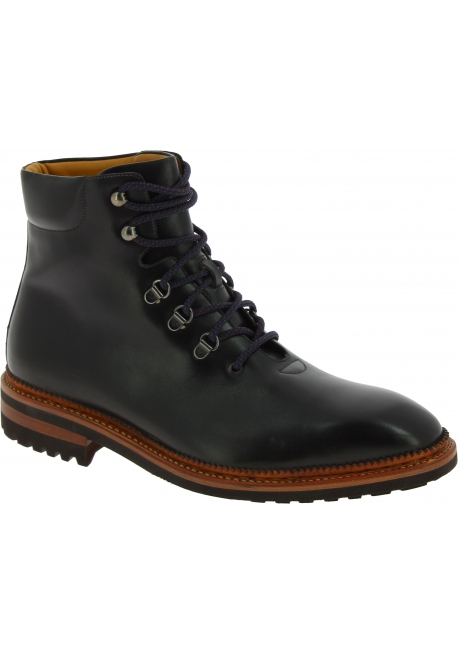 Carlos Santos Men's fashion round toe lace-ups ankle boots in gray leather