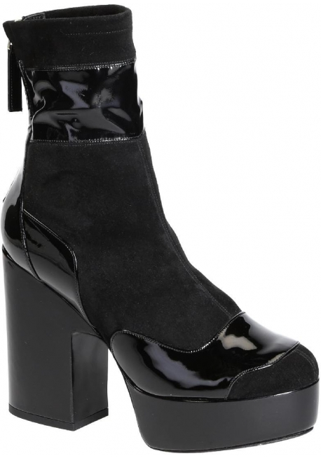 Pierre Hardy midcalf high heels booties in black Suede leather