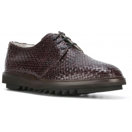 Dolce&Gabbana men lace-up in Chocolate woven leather