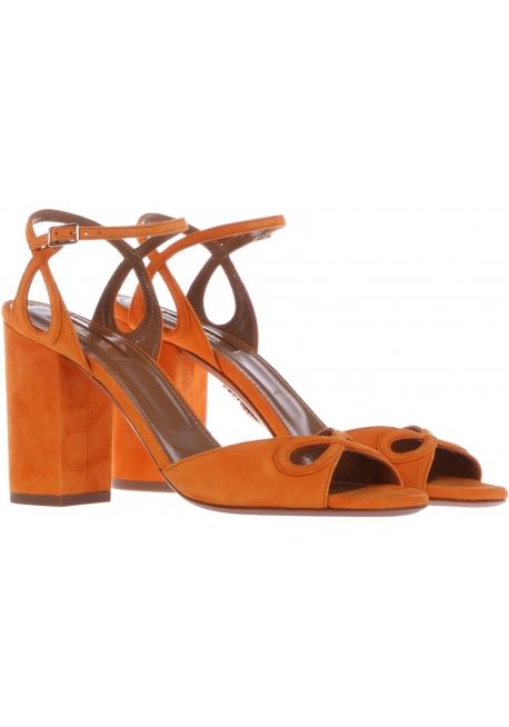Aquazzura high heel sandals in orange Suede leather