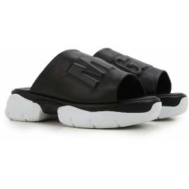 MSGM women's slipper sandals in black Leather
