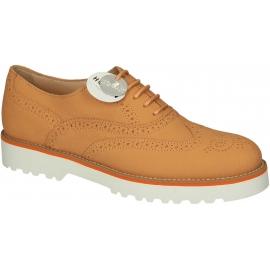 Hogan women's orange Leather brogue oxfords shoes