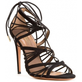 Aquazzura high heel strappy sandals in black suede leather