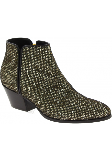 Giuseppe Zanotti Women's fashion gold glittered ankle boots with side zip